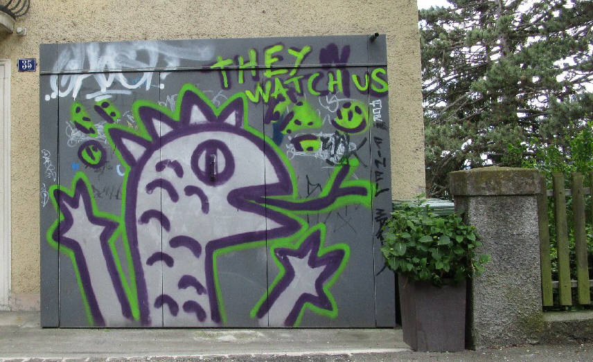 REPTILIANS GRAFFITI STREETART ZURICH SWITZERLAND THEY WATCH US