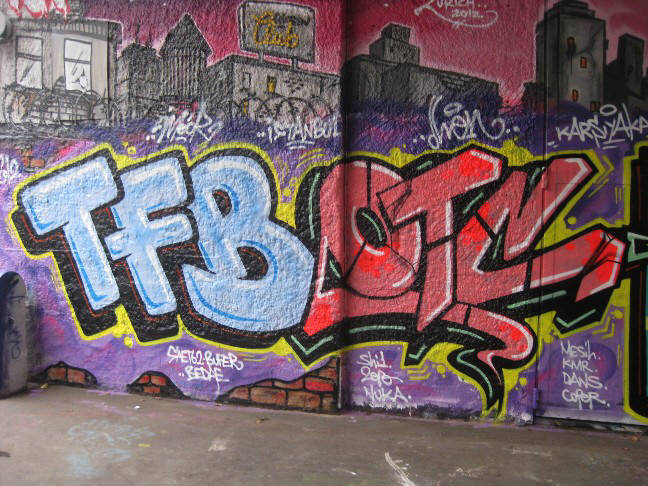 TFB BURN GRAFFITI CREW ISTANBUL at oberer letten graffiti hall of fame in zurich switzerland