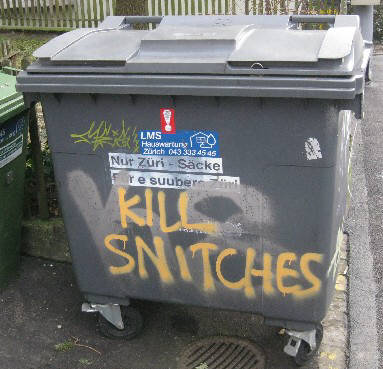 KILL SNITCHES graffiti tag on trashcan in zurich switzerland 2014