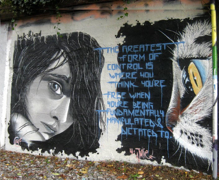 The  greatest form of control is where you think you're free when you're being fundamentally manipulted and dictated to... Streetart with David Icke quote in Zurich Switzerland