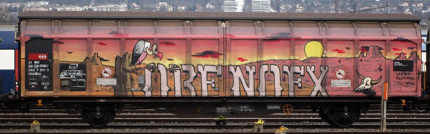 orf nofx desert scenery graffiti freight with vulture zurich