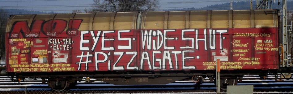 PIZZAGATE SBB-güterwagen graffiti zürich cargo train graffiti freights BEFORE CENSORSHIP