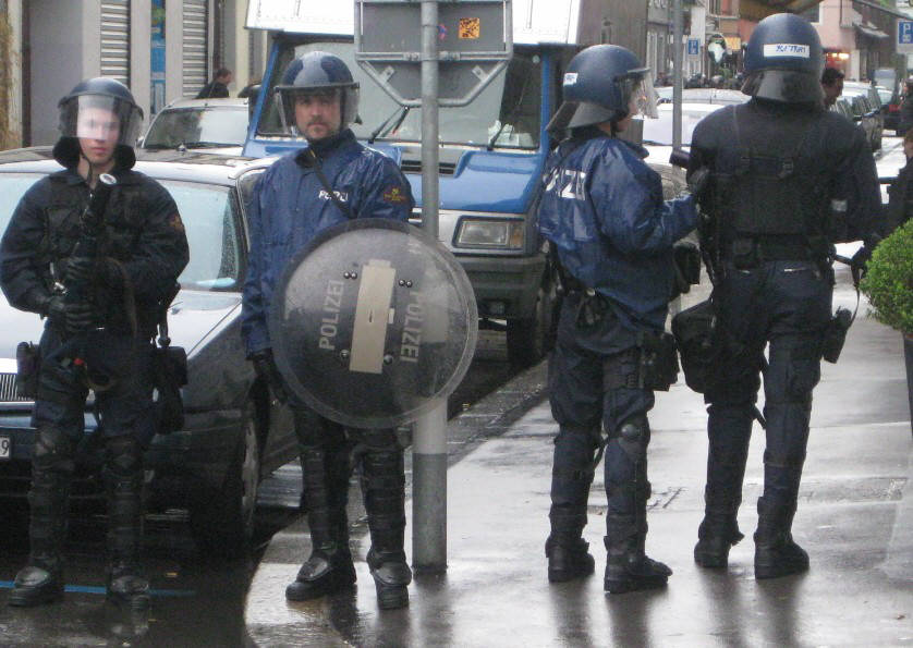 RIOT POLICE ZURICH SWITZERLAND MAY 1, 2O10. RIOT SQUAD IN ZURICH SWITZERLAND