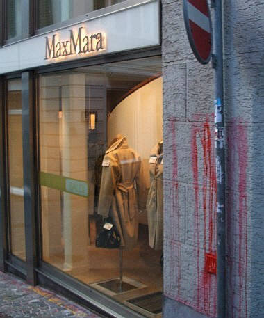 color bomb attack on max mara boutique in zurich switzerland, january 2009. max mara fashion group sells fur-lined clothes