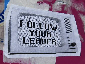 FOLLOW YOUR LEADER. street art kleber. street art sticker zurich switzerland graffiti in switzerlalnd
