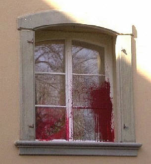 color bomb attack on public prosecutors office in zurich switzerland, march 2007